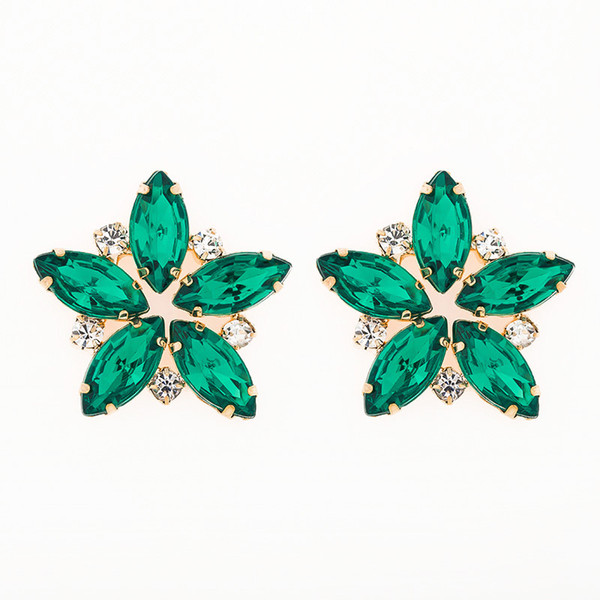 Fashion Hot Sale Full Rhinestone Stud Earring For Women Vintage Crystal Large Flower Earrings Wedding Gift E076