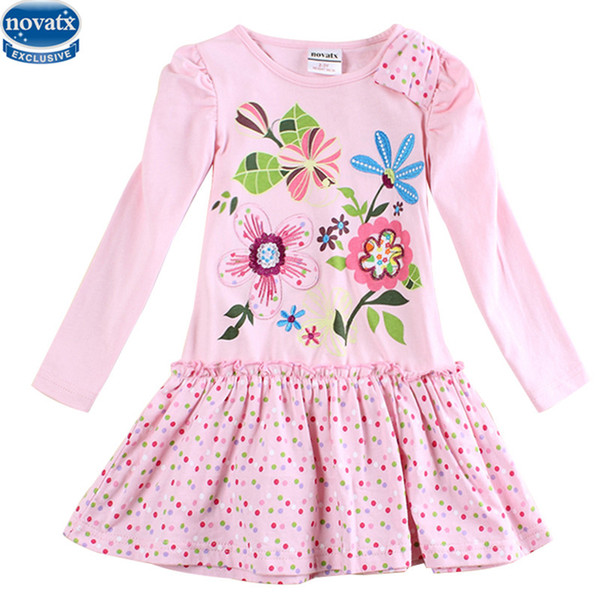 New Nova kids brand baby's clothes girls dresses high quality hot selling winter flower kids dresses children frocks