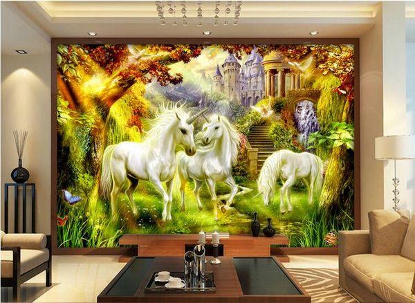 Acheter 3d Papier Peint Personnalise Photo Fantaisie Conte De Fee Style Cheval Blanc Licorne Video Mur Decoration De La Maison 3d Mur Muals Papier