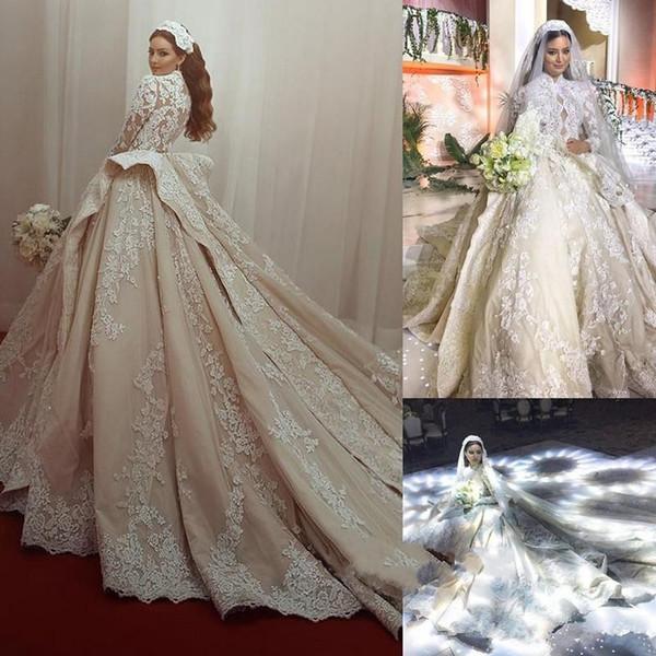 Beautiful Long Sleeve Arabic Lace Wedding Dresses 2019 Princess ...