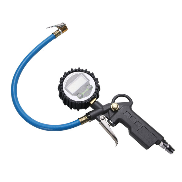디지털 공기 타이어 압력 Inflator 게이지 자동차 트럭 차량 오토바이 권총 LCD 다이얼 미터 테스터