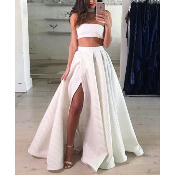 Fashion White Two Pieces Prom Dresses 2018 Long Strapless Prom Dress With Slit Special Occasion Dresses Prom Gowns