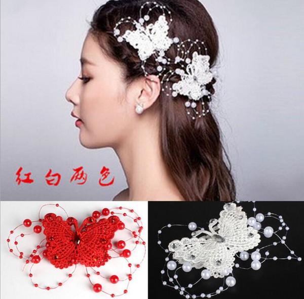 Free Shipping Wedding Accessories Butterfly Pattern Faux Pearl Design Bridal Hair Sticks Hot Sale Rhinestone Bridal Hair Clips