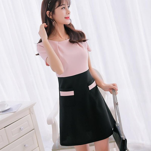 Summer Dresses 2017 New Fashion Party Mini Women Dress Plus Size Work O-Neck A-Line Spring Brief Korean Patchwork Club Clothing