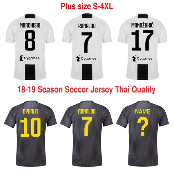 buy online ac70d 47b00 2019 2018 19 Top Thai Best Quality New Juve Zebra Home Third Soccer Jerseys  Male Ronaldo Dybala Mandzukic Chiellini Football Shirt Plus Size 4XL From  ...