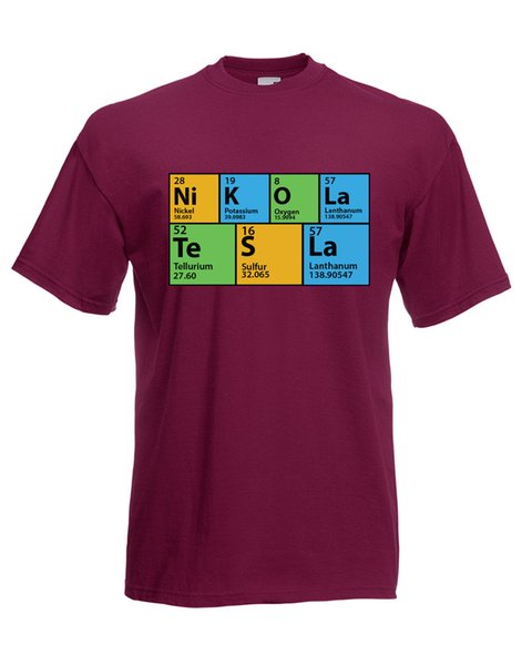 THE BIG BANG THEORY INSPIRED PERIODIC TABLE Nikola Tesla T-SHIRT Colour Funny free shipping Unisex Casual gift