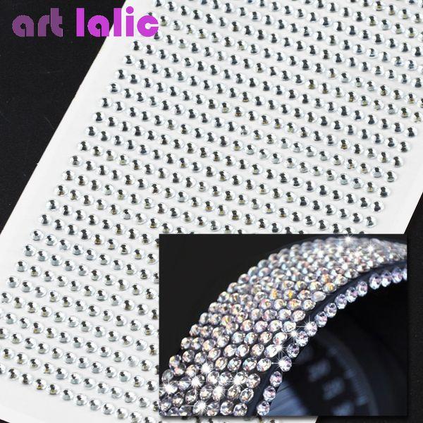 990 unids 4mm Rhinestones Autoadhesivo Diamantes Stick On Cristales Beads Nail Art Car PLATA