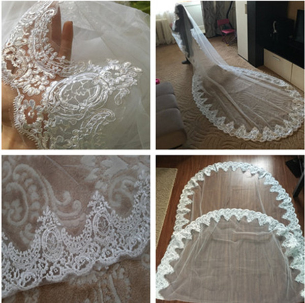 2019 New Cheap Long Chapel Train Lace Bridal Veils Applique Edge Singer Layer With Comb Wedding Accessories Free Shipping CPA068