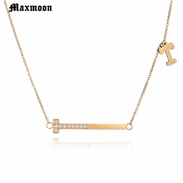 Maxmoon Fashion Brand Woman Jewelry Gold Color Zirconia s Pendant Necklace 316 L Stainless Steel Jewelry High Polish
