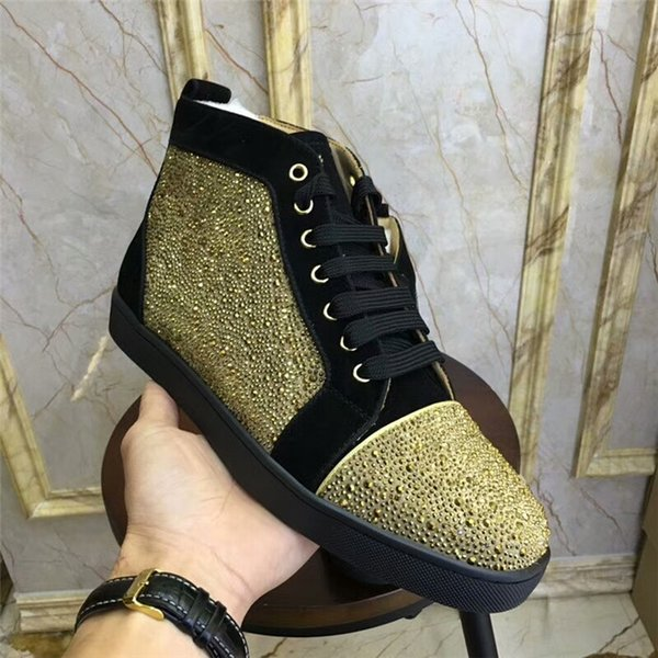 2018 New Fashion High Top Multicolor Glitter Red Men Women Top Qulity Pink Purple zapatos de vestir de cuero genuino kj132201