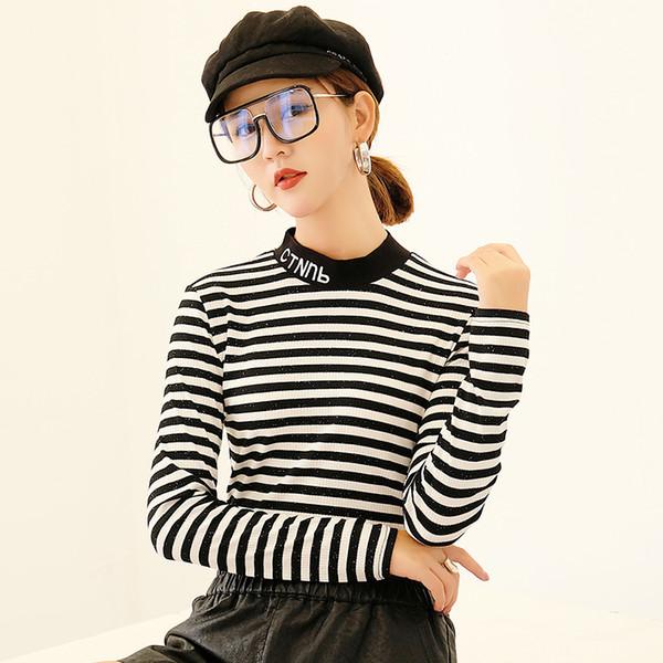 2018 Embroidery Striped Women Long Sleeve O-neck Tops t-shirts Knit Rib Black white stripes Top Woman Sexy slim T shirt Tops