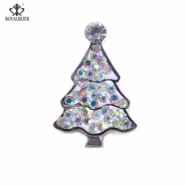 New Arrival 2pcs/set White Christmas Tree Snap Buttons18mm Metal Snap Button Bear Charms With Rhinestone Beads DIY Jewelry