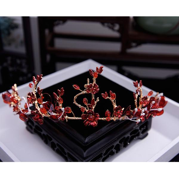 Coreano artesanal frisado cristal pneu cabelo vermelho aro coroa brinde noiva acessórios para o cabelo do casamento