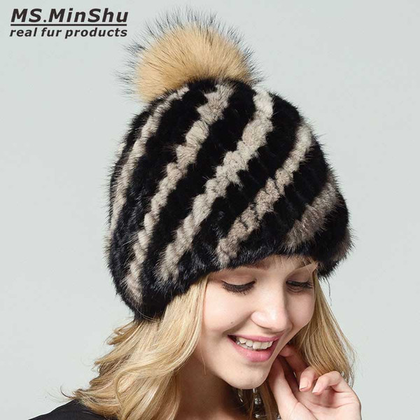 c1b8653d06a49 Mink Beanies Cap With Fox Fur Pompoms For Women Female Cap Winter Knitted  Real Fur Hat Women Bobble Hat Ms.MinShu Mens Hats Straw Hat From ...