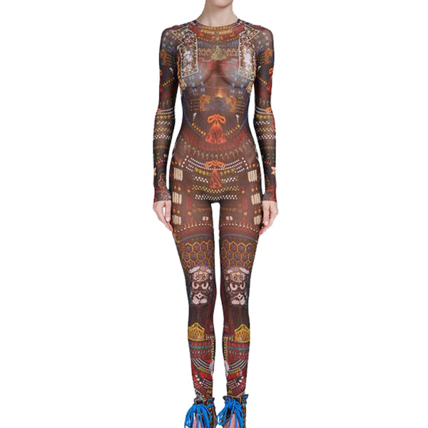 Summer Women Baroque Couture Tribal Tattoo Print Mesh Jumpsuit Curvy African Runway Sheer Bodysuit Celebrity Jumpsuit Catsuit