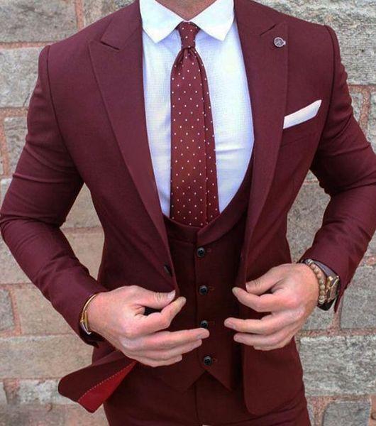 Tuxedos Groom New Style Gentsmen Wine Vent Slim Costumes Fit Meilleur Homme Costume Mariage / Costumes Hommes Époux (Veste + Pantalon + Vest + Cravate) NO: 64