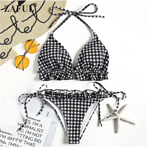 vendita all'ingrosso 2018 donne costumi da bagno bikini controllato imbottito halter bikini set a vita bassa ruffles sexy estate beach costume da bagno