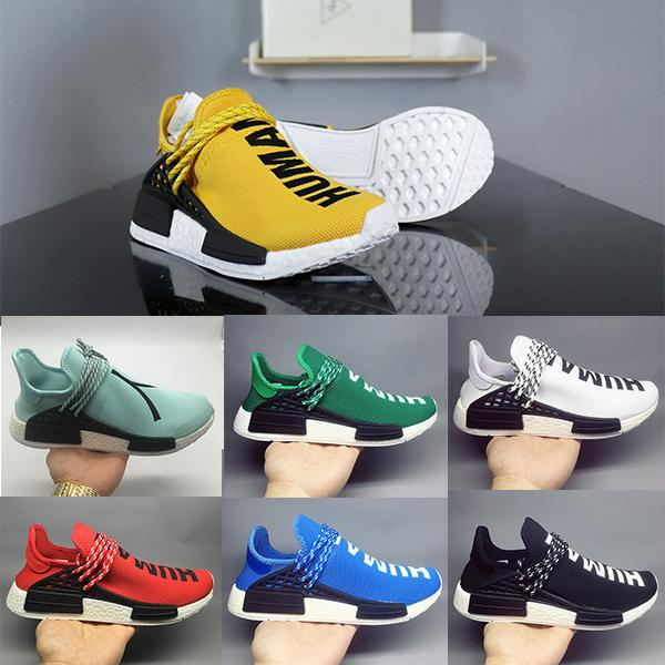 check out f4398 7faf9 Nmd Human Race Green Blue Yellow Red Purple Black Pharrell'S Boost Casual  Shoes Williams Pharrell Real Upc Code Us 5 12 Boat Shoes Shoes For Men From  ...