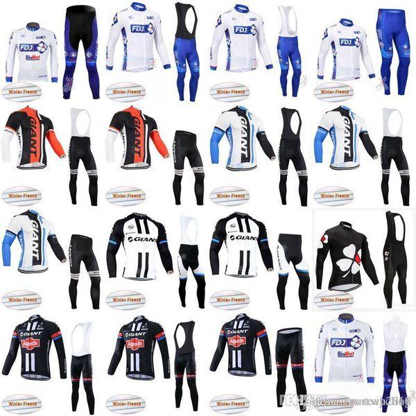 FDJ GIANT squadra Ciclismo Inverno Thermal Fleece jersey (bib) pantaloni set Quick Dry Collant abbigliamento Bicicletta Abbigliamento sportivo mans D1137