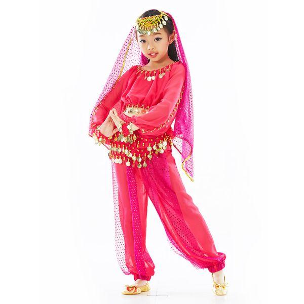 Kız Bellydance Kostüm Çocuk Bollywood Dans Kostüm Stil Göbek Dance Wear