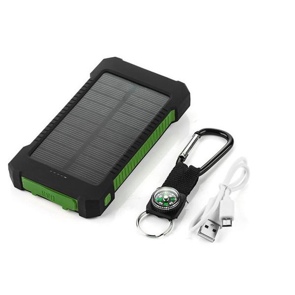 Fábrica de energía impermeable brújula Banco de la energía solar 20000mah Universal CellpPhone Cargador de batería con linterna LED y brújula de luz que acampa