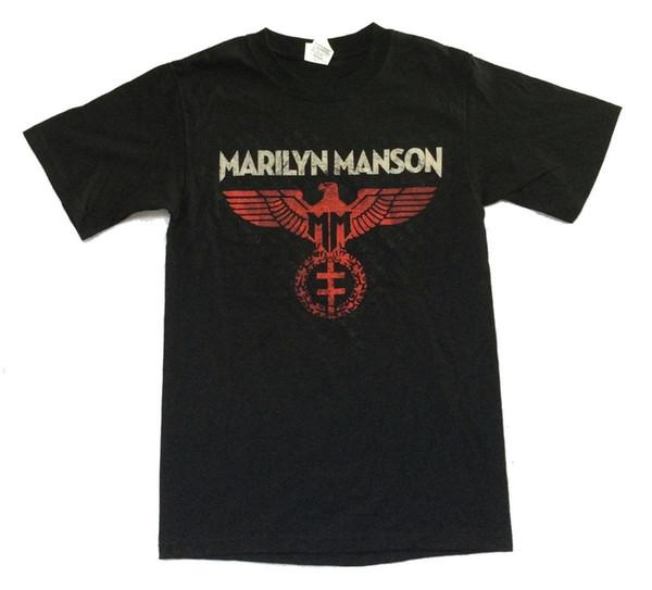 Marilyn Manson Yayıldı Kartal 2015 Tur ABD CDN Siyah T Gömlek Yeni Resmi Merch Mens 2018 moda Marka T Gömlek O-Boyun