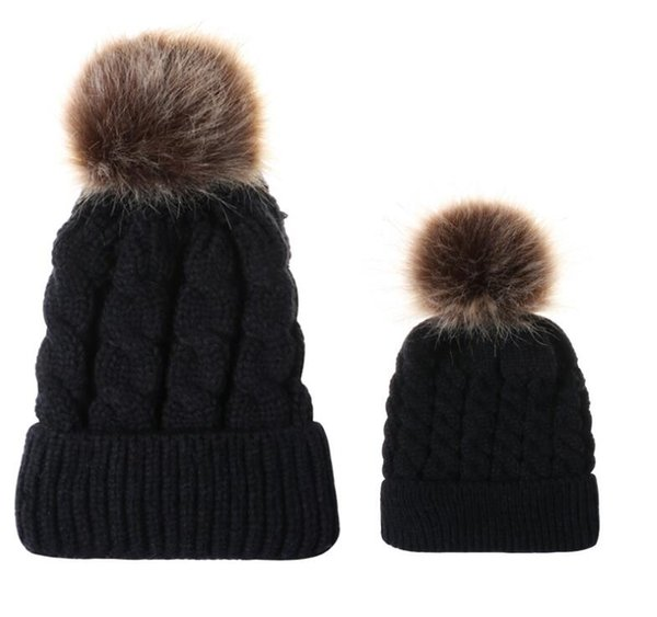 2PCS/set Mom Mother Baby Knit Pom Bobble Hat Kids Girls Boys Winter Warm Beanie Hats Accessories KKA6012