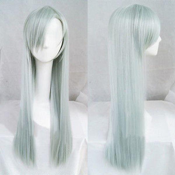 Los siete pecados mortales Elizabeth Liones 80cm largo gris cian cosplay peluca de pelo S024