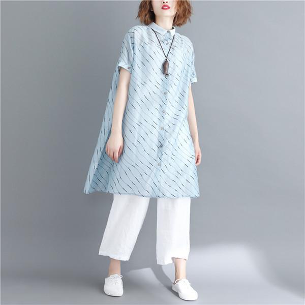 donne grasso signora sciolto lungo blu camicetta 2018 estate nuove camicie moda femminile top cappotto outwear top quality