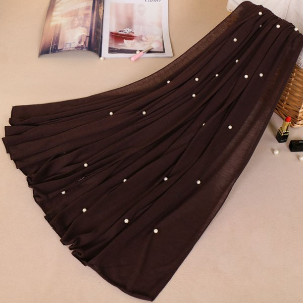 Jersey pearl shawl infinity cotton beads scarves polyester muslim hijab pure color head popular scarf shawls YW63