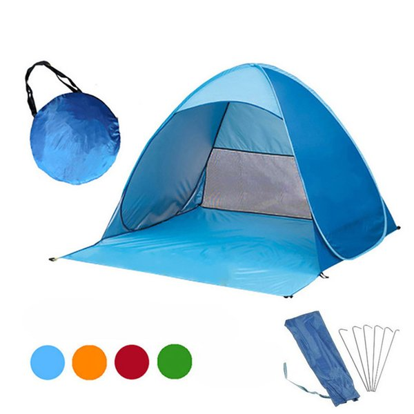 Outdoor Quick Automatic Opening Tents Portable Beach Tent Beach Tent Beach Shelter Hiking Camping Family Tents For 2-3 Person 12colors C4543