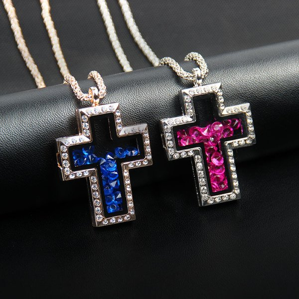 2018 Hot cross Stainless Steel Locket Necklace with chain Cross magnetic glass floating charm locket