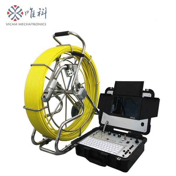 Vicam 100meters heavy duty waterproof sewer inspection camera 50mm rotation HD cctv pipe inspection robot with roller skid