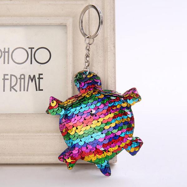 Sevimli Anahtarlık Glitter Ponpon Sequins Kaplumbağa Anahtarlık Hediyeler Kadınlar Için Llaveros Mujer Araba Çanta Aksesuarları Anahtarlık Chaveiro