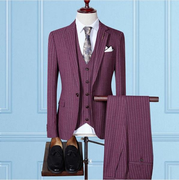 Jacket+Vest+Pants)2017 autumn fashion causal woolen grid men's suis,wedding dress suit men,men's business suits full size S-4XL