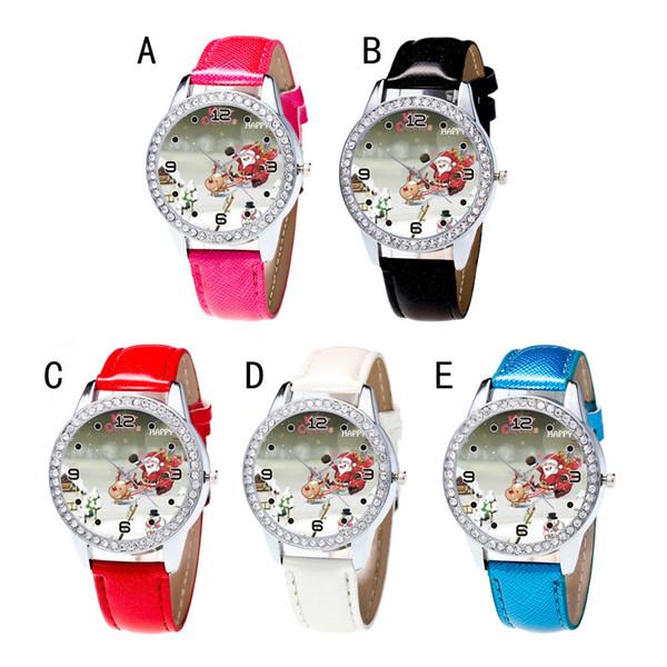 Reloj de mujer Relojes de Navidad Diamante de cuero banda analógico de cuarzo Vogue Relojes de pulsera Gif 0925