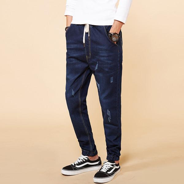 2018 Spring Mens Jeans Plus Size Stretch Denim Harem Pants for Men Pants Plus Size M-5XL 6XL 7XL 8XL Jeans Dark Blue And Blue