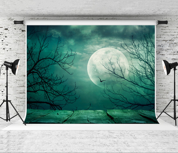 Dream Halloween Theme Backdrop for Photography 7x5ft Blue Sky Moon Old Tree Photo Background Prop 220x150cm Shoot Studio Wood Floor Backdrop
