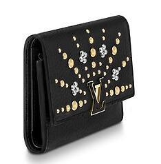 M63463 CAPUCINES COMPACT WALLET black Real Caviar Lambskin Chain Flap Bag LONG CHAIN WALLETS KEY CARD HOLDERS PURSE CLUTCHES EVENING