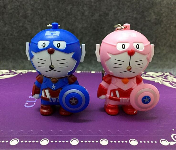 New Doraemon Keychain Figure Movie Captain America Key Chain Light-up Sound Car Ring Creative Gifts