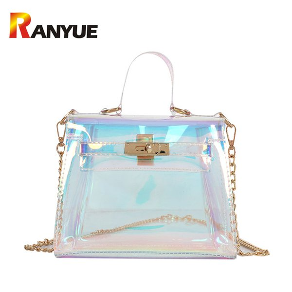 New Fashion Lock Transparent Bag For Women Laser Holographic Messenger Bag Flap Ladies Handbags Summer Beach Chains Shoulder