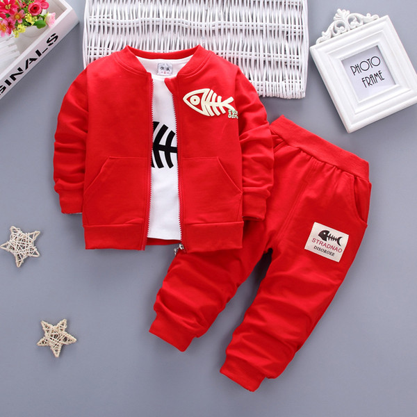 BibiCola Fashion Baby Boys Clothing Set Kids Tracksuit for Boys T-shirt+Coat+Pants 3PCS set Toddler Children Clothes