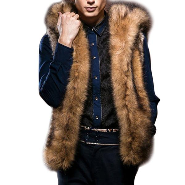 Kış Erkekler Sıcak Kürk Hoodie Yelek Palto Kapşonlu Dış Giyim Kolsuz Ceket Ceket Erkek Yelek Ceketler Artı Boyutu S-3XL