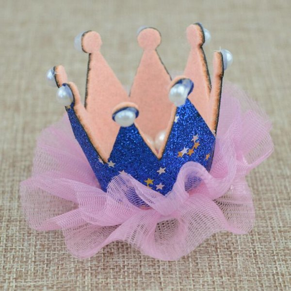 Children Girls Princess Lace Pearl Crown Hair Clips Kids Hairpins Headwear Hair Accessories Birthday Party Favor