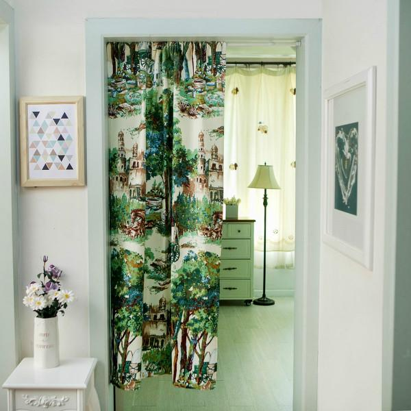 Curtains in 100% Cotton Chinese Green Brush Painting Curtain 32in*55in for Living Room Blackout Door Home Decor Free Shipping