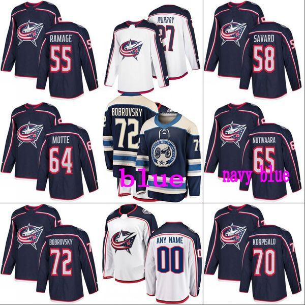 #72 Sergei Bobrovsky Columbus Blue Jackets Jersey 58 David Savard 70 Joonas Korpisalo 71 Nick Foligno Custom Hockey Jerseys