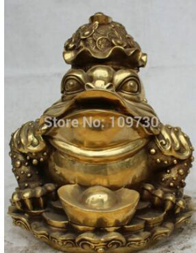 """12"""" Chinese Fengshui Brass Golden Toad Spittor Money Bag Wealth Coin Rich Statue"""