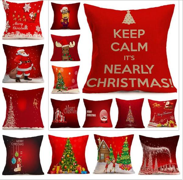 Explosion models import company custom wholesale Christmas festive pattern car sofa pillow pillowcase