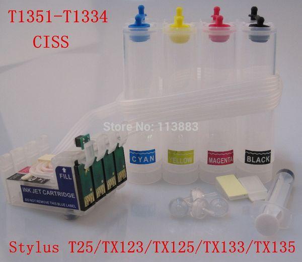 T1351 T1332 T1333 T1334 СНПЧ система непрерывной подачи чернил для Stylus Т25/TX123/TX125/TX133/TX135 принтер автосброс чип