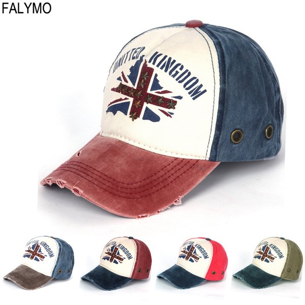 Unisex Men Women Snapback Adjustable Baseball Cap Hip-Hop Hats UK Flag Patch Print British Vintage Denim Cotton Washed Hat Caps
